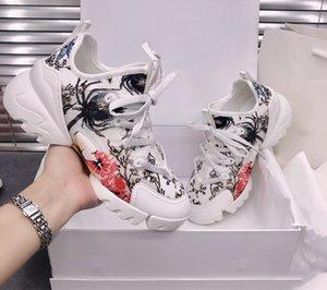 zapatilla de deporte gruesa suela de color del encanto de la moda D 2020 primavera nueva impresión de alta padre zapato muestran delgada mujer calzado casual.