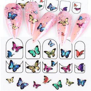 Nail Art adesivos coloridos 3D Butterfly Adhesive decalques projeto DIY Manicure Sliders Wraps Foils Decoração Para Nails LA1787