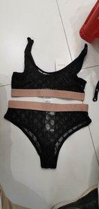 2020 새로운 디자인 여성의 섹시한 거즈 레이스 패브릭 로고 자수 스파게티 스트랩 뷔스티에 조끼와 반바지 팬티 twinset 속옷