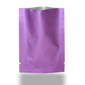 Matte Light Purple Heat Seal Open Top Pure Aluminum Packaging Bag Vacuum Mylar Foil Storage Bags For Food Cosmetic Mask Packing