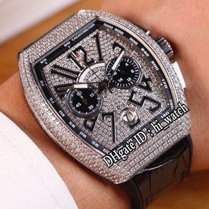 Coleção dos homens novos Vanguard V 45 CC DT YACHT Miyota Quartz Chronograph Mens Watch Steel Case All Diamond Dial Black Rubber black hi_watch H03b2
