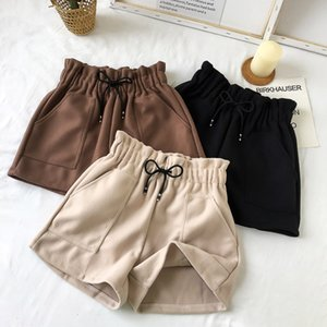 Solid Casual Loose Thick Warm Elastic Waist Straight Booty Shorts Women Shorts Autumn Winter High Waist Pockets New