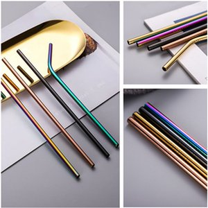 Stainless Steel Pure Colors Straw Suit Portable Reusable Straws environmental protection Beverage coffee milk tea straw T9I00111