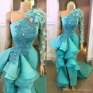 Hunter Green High Low Выпускные платья с длинными рукавами 3D-цветочные аппликация Формальные вечерние платья оборками баски платья партии Pageant Gowns