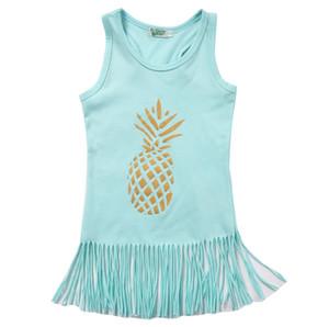 Moda 0-5 T Bambino Bambini Neonate Vestito casual Principessa Frutta Ananas Beach Dress Party Nappa Tutu Dress Sundress