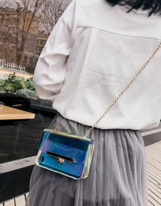 manera del bolso claro transparente de PVC crossbody Mini Bolsa de láser holográfico de hombro bolso femenino bolsas cadenas mensajero monedero