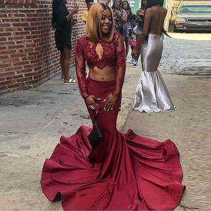 Preto Africano duas peças Prom Dresses Lace Applique mangas compridas menina Mermaid Evening menina para vestidos