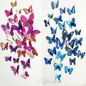 12pcs PVC 3d magnetic Butterfly wall decor cute Butterflies wall stickers art Decals home Decoration ak085