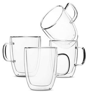 Coffee Mug, Coffee Glass, Set of 4 (16oz, 500ml), Double Wall Tea Cups, Latte Cups, Glass Coffee Mug, Beer Glasses, Latte