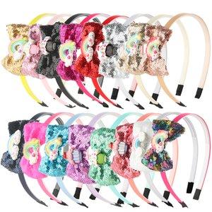 10pcs / lot Arceaux de Cheveux pour Filles Glitter Hairbow Hairbands Princesse Sequin Arc Enfants Tête Cerceau Arc-En-Résine Conception Kid Headwear