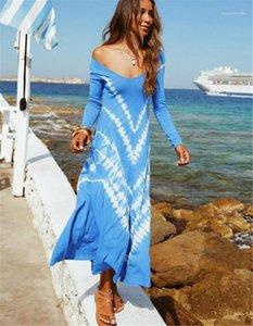 Designer Abiti Moda Blu Colore spalle abiti delle donne sexy scollo a V Abiti tinto legame Womens