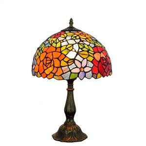 Europäische kreative pastorale Rose Bar Hotel Schlafzimmer Nachttischlampe amerikanische Tiffany Glasmalerei TF001 Beleuchtung