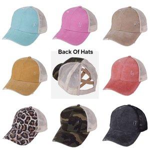 10 Farbe Erwachsene cc Hut CC Baseball Hut Adjustable-Mädchen-Jungen-Pferdeschwanz-Softball-Hüte zurück Loch Pony-Schwanz-Mesh-Baseball CC Cap
