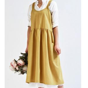 Mulheres Cotton Linen Bib Avental Estilo Japonês Sem Mangas Pinafore Home Cooking Florista Avental