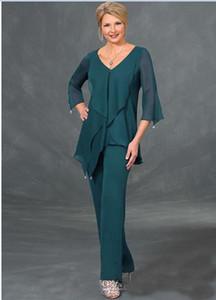 Gelin Suits Pantolon V Yaka Uzun Kollu Düzensiz Artı boyutu Kat Uzunluk Anneler Suits Custom Made Koyu Yeşil şifon Anne