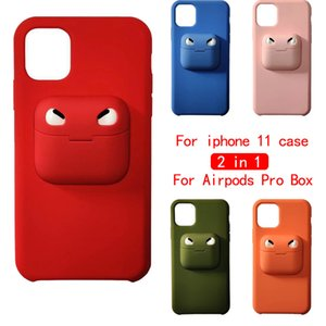 2 in 1 schützenden Telefon-Kasten für iphone 11 pro max Für Airpods Pro Storage Box weiches Silikon-rückseitige Abdeckung Freien Verschiffen