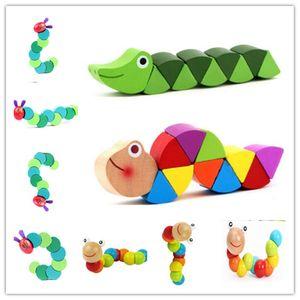 Montessori Toys Enfants Puzzle Early Learning Learning Jouets en bois Caterpillar Twist Insectes Exercice Bébé Doigts Flexible3