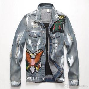 Slim American Flag ricamato uomini caldi strappato Jean Jacket Trendy Lettere uccelli Distressed Denim Top Coat Outerwear