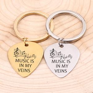 Musikliebhaber Plektrum Keychain Hand geschnitzte Musik ist in meinen Adern Hinweis Geschenk für Mädchen Freund Freund Geburtstag Schmuck