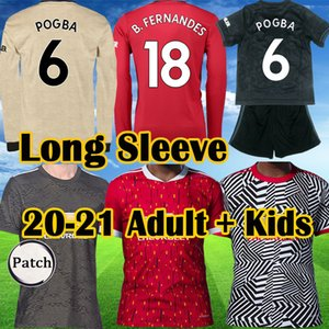 Top FC GREENWOOD RASHFORD POGBA long sleep soccer jerseys 2019 2020 2021 Manchester BRUNO FERNANDES UNITED Utd man football shirt Kids Kit