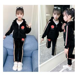 Ropa de moda de los niños marca de ropa juego de las muchachas de lujo Establece Smiley Patrón sistemas de dos piezas de deporte mantener caliente otoño 2019 de la alta calidad