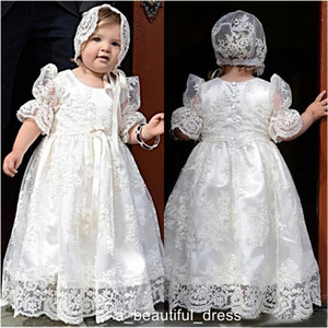 White Lace Baby First Communion Dresses Gor Girls Toddler Dress Vestido Primera Comunion Christening Gowns Para Ninas For Baby FG1348