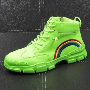 Men Fashion Casual Ankle Boots Spring Autumn Thick Bottom Youth Trending High Top Sneakers Male rainbow Shoes
