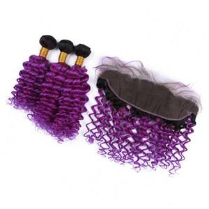 Перуанский Two Tone волос девственницы с фронтальным глубокая волна 1B Фиолетовый Ombre полный шнурок Фронтальная 13x4 с Deep завитые волосы Связки 4шт Лота
