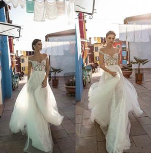 2019 Une ligne Gali Cartes Robes de Mariée avec overskirts Encolure dentelle Robes de mariée longueur de plancher Plus Size Robe de mariée pas cher