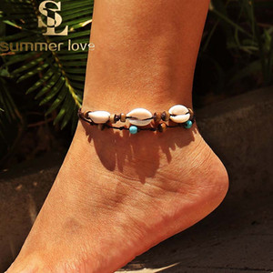 Bohemian Woven Shell Wax Seil Fußkettchen für Frauen Fashion Handmade Braid Holzperlen Fußkettchen Strand Fußschmuck Großhandel