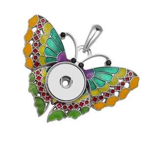 Strass Schmetterling Ingwer Knopf Anhänger Halskette Snap Schmuck mit DIY austauschbaren Snap Schmuck