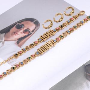 Hot vente de nouveaux et nous 2020 nouveau bracelet en laiton collier orné de zirconium alphabet encart anneau célébrité web à la mode