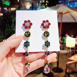 New Selling Long Multicolor Fine Crystal Flower Drop Earrings Women Joker Classic Style Earring Jewelry