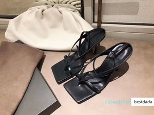 origin package chic sky blue V strap stretch sandal designer heels stable sole genuine leather shoes with a squared sole tradingbear c22