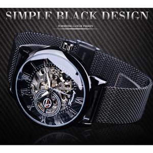 Forsining Retro Diseño de Moda Esqueleto Deporte Reloj Mecánico Manos Luminosas Pulsera de Malla Transparente Para Hombres de Primeras Marcas de Lujo SLZe92