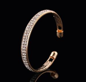 2 ряд Открыть Шарм Браслеты Женщины Кристалл Rhinestone тумака Золото Серебро браслет браслеты свадьба Подвески ювелирные изделия