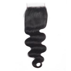 9A du corps de dentelle de vague de fermeture de vague droite Fermeture Virgin Indien Cheveux Malaisie prolongements de cheveux humains