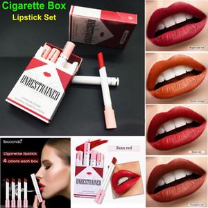 Sigara Kutusu Ruj Seti Makyaj Mat rujları 4 Renkler Kırmızı Nü Nemlendirici Pürüzsüz Ruj Kadife Su geçirmez Dudak Kit Sıcak ibcccndc