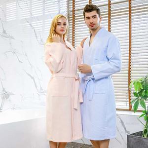 Star Hotel 100% хлопок вафельный халат Длина колена лето кимоно мужская ванна халат плюс размер женщин халат платье невесты