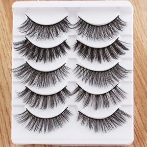 SKONHED 5 Pairs 3D Effect False Eyelashes Multilayer Messy Natural Long Thick Cross Wispy Reusable Professional Beauty Makeup