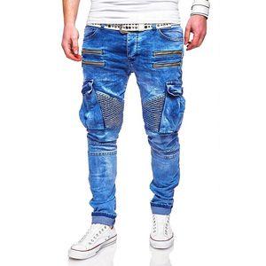Jeans Mens Fashion Azul Zippers rasgado motociclista Jean Calças Homens 2020 Primavera Hombres