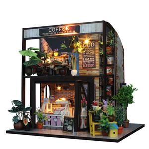 Dollhouse LED Işık Ile DIY Bebek Evi Ahşap Bebek Evleri Minyatür Dollhouse Mobilya Kiti Oyuncaklar Çocuklar için Noel Hediyesi