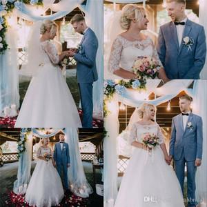 Плюс Размер Классический Белый Алин Тюль Свадебные Платья Jewel С Кружевными Половинами Рукавами Свадебные Платья Noiva Свадебные Платья На Заказ