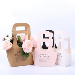 Box Flor Kraft Paper Folding Flower Waterproof Packing Box Flower Shop embalagem Container presente Caixa de armazenamento
