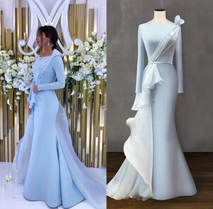 Long Sleeve Sky Blue Mermaid Abiti da sera 2020 abiti di sera musulmano Red Carpet Celebrity Dresses Plus Size Abendkleider robe de soiree