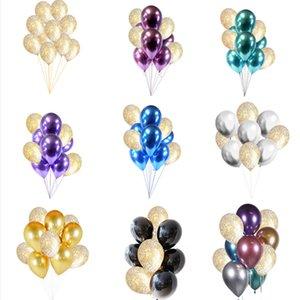 30 unids Metallic Chrome Balloons Gold Confetti Latex Balloon fiesta de cumpleaños de año nuevo Bachelorette boda nupcial ducha decoración