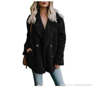 Women Plush Solid Color Jacket Buttons Turn Down Collar Pocket Designer Winter Coats
