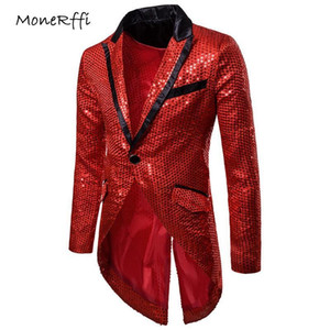 MoneRffi Men's Slim Blazers Sequin Patchwork Suits Jacket Night Club Ceremony Tuxedo Dress Gold Silver Outwear Plus Size Tops