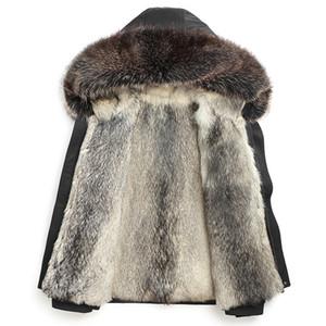 Luxo Brasão Lobo Fur Parka real Fur Homens Outdoor neve Casacos com capuz Inverno Casacos Sobretudo espessamento branco quente Preto Vermelho Moda