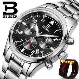 Швейцария БИНГЕР мужские часы Кварцевые Водонепроницаемый Полный хронограф из нержавеющей стали секундомер наручные часы B9202-2
